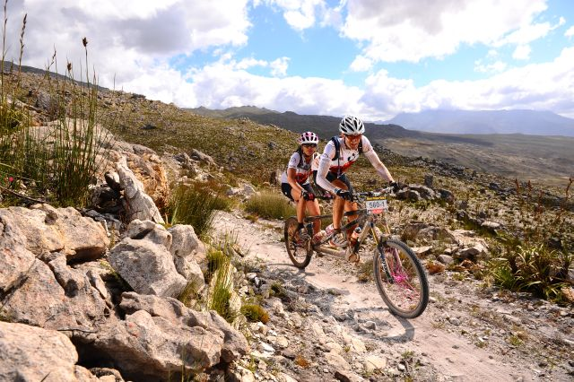 Phil and Gina on the tandem, Cape Epic 2011